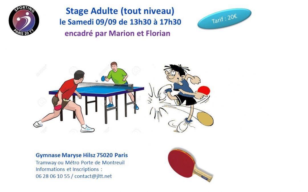 Stage réservé aux adultes le samedi 9/09